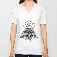 pyramid V-neck T-shirts featuring Pyramid by alesaenzart