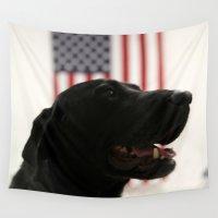 labrador Wall Tapestries featuring All-American Black Labrador by BravuraMedia