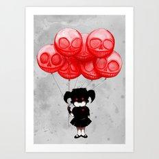 Creepy Girl Skeleton Balloons  Art Print