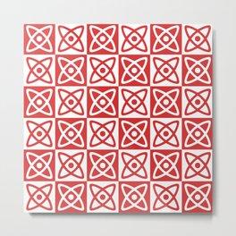 Mid Century Modern Atomic Check 139 Red Metal Print