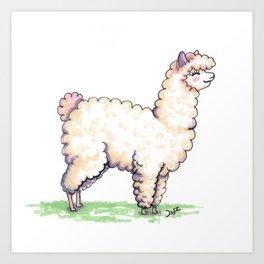 Cute alpaca Art Print