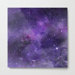 Purple Watercolor Space Pattern Metal Print