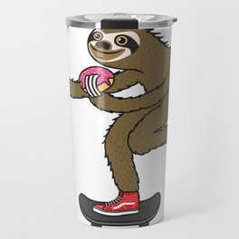 Skater Sloth loves donut Travel Mug