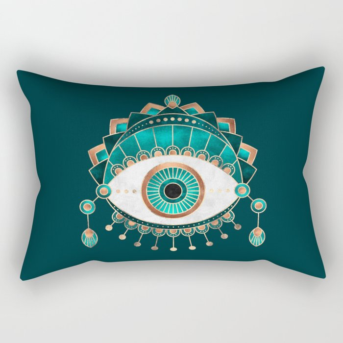 Teal Eye Rectangular Pillow