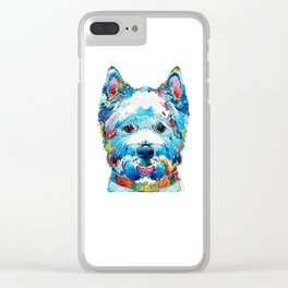 Colorful West Highland Terrier Dog Art Sharon Cummings Clear iPhone Case