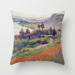 """Gorgeous French Countryside Landscape """"La Senna"""" by Maximilien Luce, 1890 Throw Pillow"""