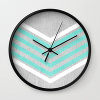 teal Wall Clocks featuring Teal and White Chevron on Silver Grey Wood by Tangerine-Tane