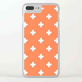Swiss cross pattern on coral Clear iPhone Case