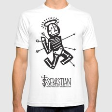 St. Sebastian - Patron Saint of Resistance SMALL White Mens Fitted Tee
