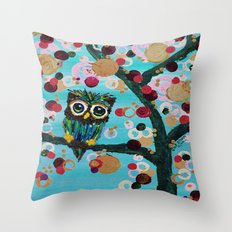 :: Gemmy Owl Loves Jewel Trees :: Throw Pillow