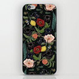 Botanical and Black Pugs iPhone Skin