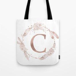Letter C Rose Gold Pink Initial Monogram Tote Bag