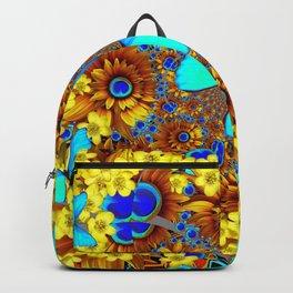 OPULENT YELLOW FLOWERS & BLUE SATIN BUTTERFLY ART Backpack