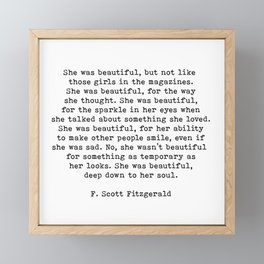 She Was Beautiful, F. Scott Fitzgerald, Quote Framed Mini Art Print