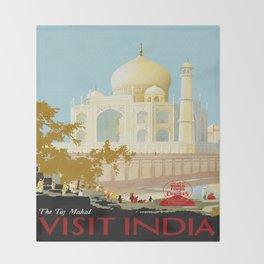 Visit India - Taj Mahal - Vintage Travel Poster Throw Blanket