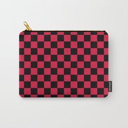 Black and Crimson Red Checkerboard Carry-All Pouch