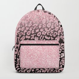 Trendy Rose-Gold black Glitter Ombre Leopard Print Backpack