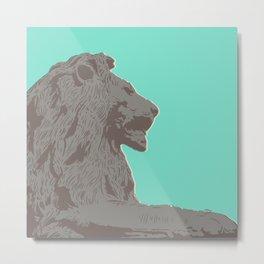 Trafalgar Square Lion - Blue Metal Print