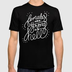 Females Are Strong As Hell LARGE Mens Fitted Tee Black