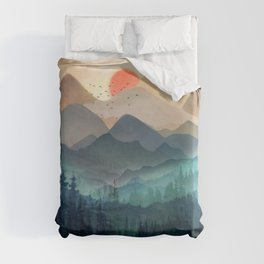 Wilderness Becomes Alive at Night Duvet Cover