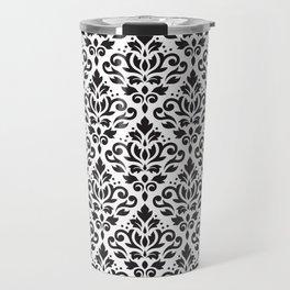 Scroll Damask Pattern Black on White Travel Mug