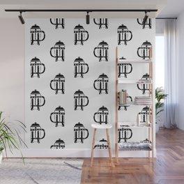 French Press linocut black and white pattern coffee art kitchen pattern art Wall Mural