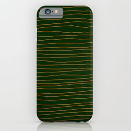 Hand Drawn Lines - Orange / Dark Green iPhone Case