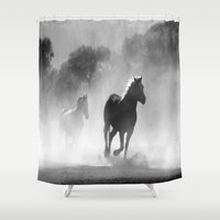 horses Shower Curtains featuring Horses  by Gracy Dreamscape