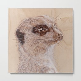 Meerkat Portrait - Drawing by Burning on Wood - Pyrography Art Metal Print