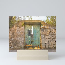 Blue and green door in the countryside of Salento Mini Art Print