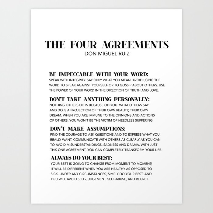 The Four Agreements Art Print By Typutopia