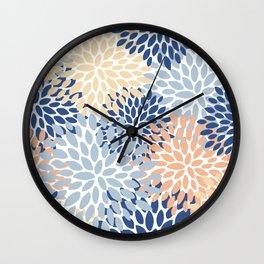 Festive, Floral Print, Coral, Peach, Light Blue, Navy, Colourful Prints Wall Clock
