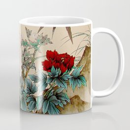 Oriental, Poppies and Bamboo Coffee Mug