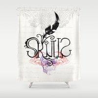skulls Shower Curtains featuring Skulls by Vera rubinchik