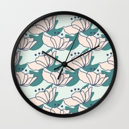 Pastel Pink Flowers Wall Clock