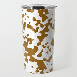 Spots - White and Golden Brown Travel Mug