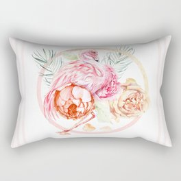 Shimmering Rose Gold Flamingo With Flowers And Fronds Rectangular Pillow