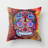 sugar skull Throw Pillows featuring Sugar Skull by oxana zaika