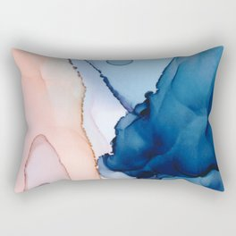 Saphire soft abstract watercolor fluid ink painting Rectangular Pillow