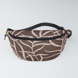 Minimal Braun and Beige Earth Tones Plant Leafes Decor Fanny Pack