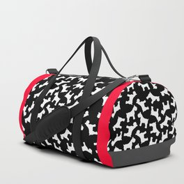 White Schnauzers - Simple Dog Silhouettes Pattern Duffle Bag