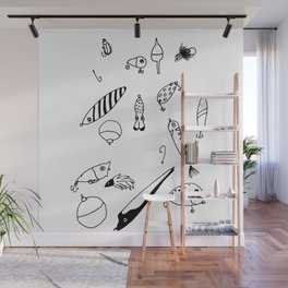 Black and White Lures Wall Mural