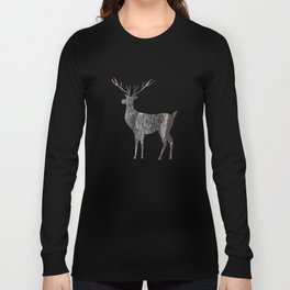 deer silhouette stag black bark with lichen Long Sleeve T-shirt