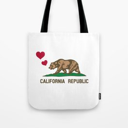 California Republic Bear with Hearts Tote Bag