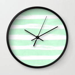 Stripes Mint Green and White Wall Clock