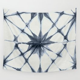 Shibori Starburst Indigo Blue on Lunar Gray Wall Tapestry