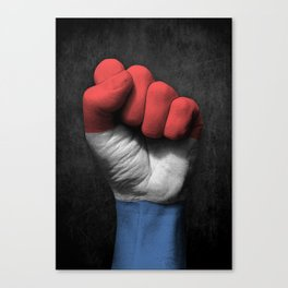 Dutch Flag on a Raised Clenched Fist Canvas Print