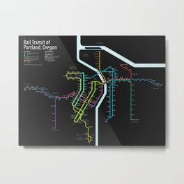 Rail Transit of Portland, Oregon Metal Print