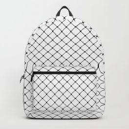 White and Black Classic Diagonal Grid Backpack