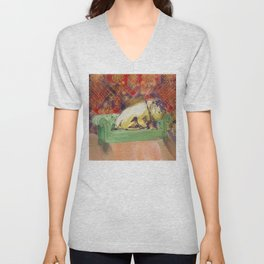 animals in chairs #8 variation on a theme Hippo Unisex V-Neck